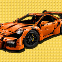A lego porsche orange background